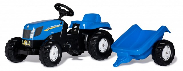 Tractor New Holland T7040 cu pedale și remorcă Rolly Toys